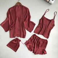 2017 Free Shipping Sexy Pajama Set Women Sleep Set Deep V-neck Sexy Spaghetti Strap Shorts Home Wear Pajama Women Pajama Sets
