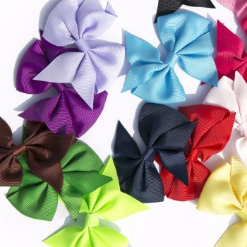 40pcs (20pair) 3.5″ boutique hair bows girls kids children alligator clip grosgrain ribbon headbands 20 colors