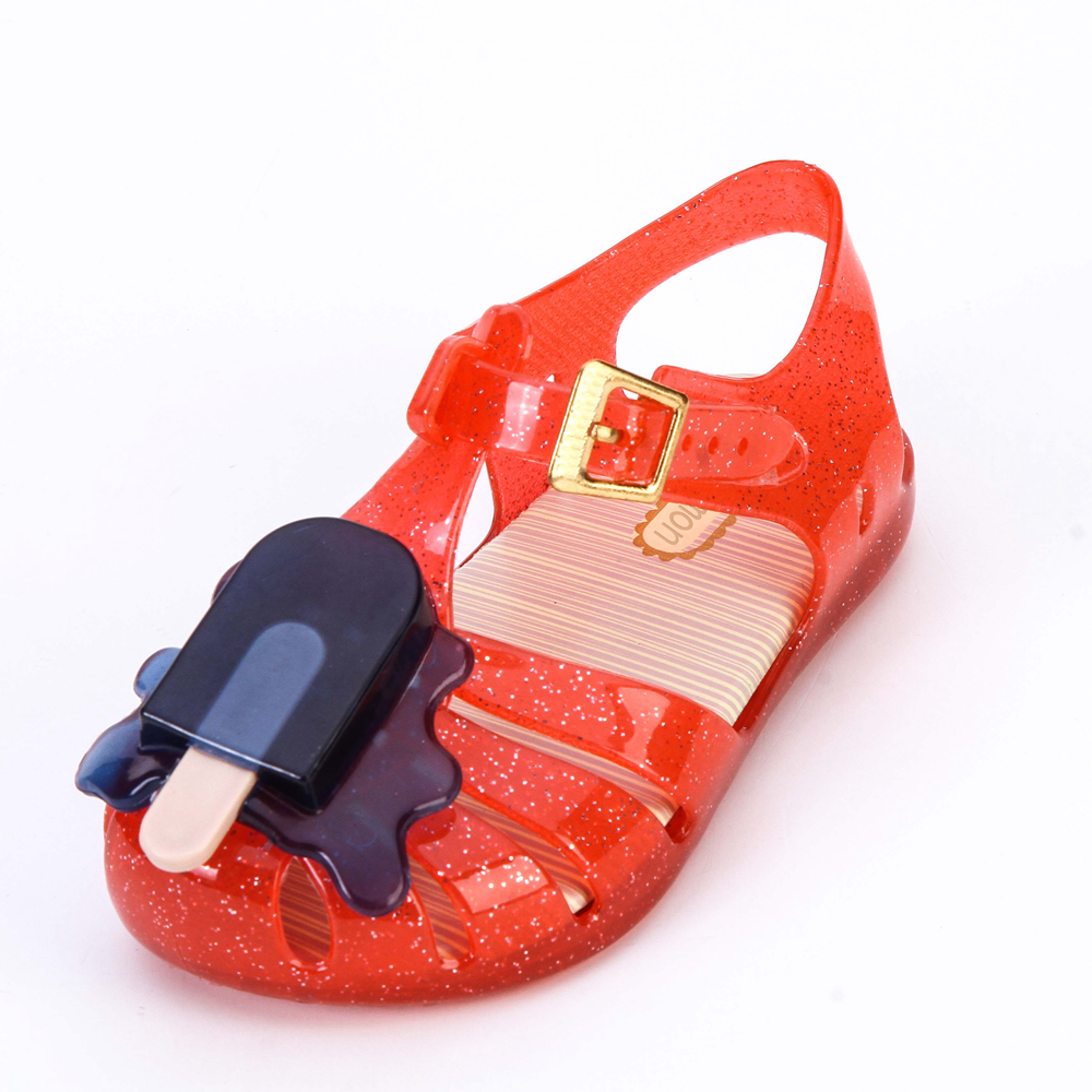 Melissa Aranha VIII BB Slingback Mini Sandal Ice-lolly Style Girls Sandals Soft PVC Hook Loop Girls Shoes Summer Size 8-13