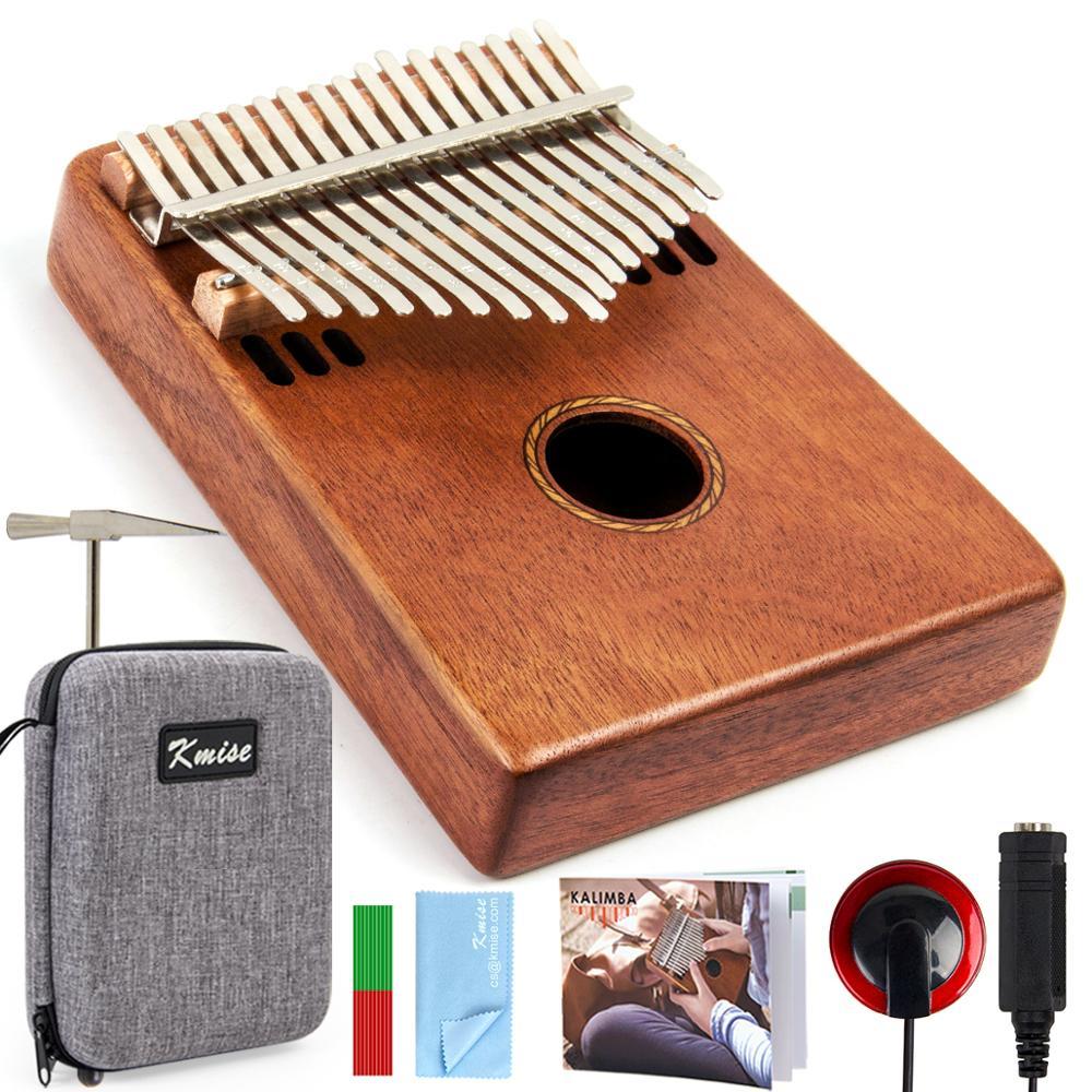 Kmise Kalimba 17 Key Finger Piano Marib Mahogany With Padded Gig Bag Tuner Hammer