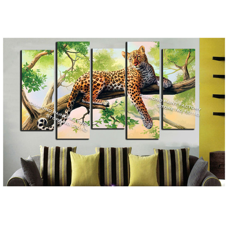 DIY diamond painting cross stitch tree a leopard Full square embroidery Mosaic 3d rhinestone scenery home decoration drawing