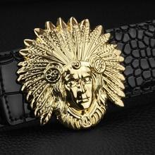 aca5b315ed83 3.8 cm large Indien Tête portrait ceinture hommes Lisse D or boucle en cuir  véritable ceinture homme Luxo Crocodile noir designe.