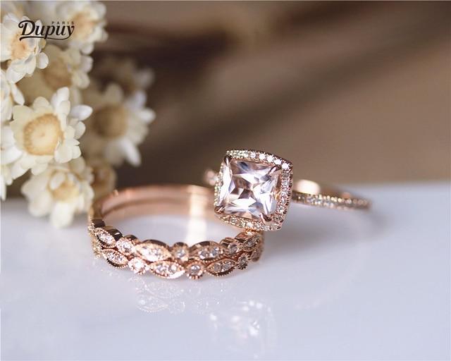 Dupuy Vs 7mm Princess Cut Morganite Engagement Ring Set Art Deco