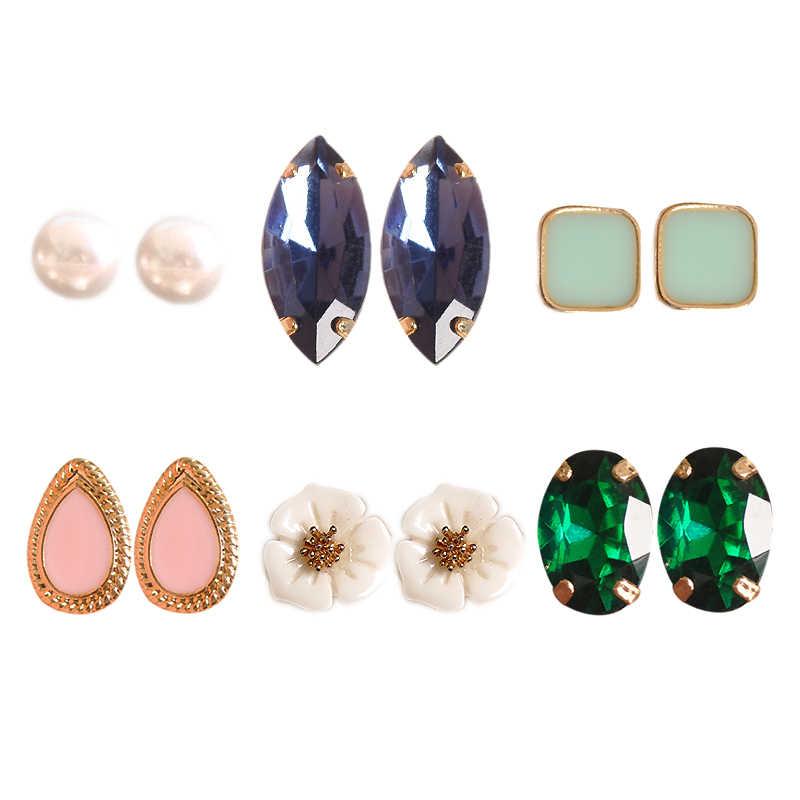 ใหม่แฟชั่นผู้หญิงเครื่องประดับหญิงวันเกิด: Pearl ต่างหูสีเขียวและสีชมพูสีเขียวชุดผสม 6 คู่/เซ็ตต่างหู