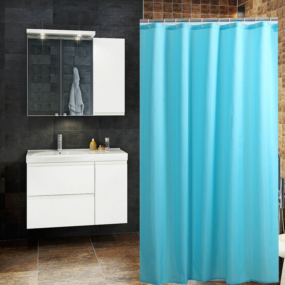 Solid teal shower curtain -  Shower Curtain Bath Curtain Solid Blue Waterproof Mildew Download
