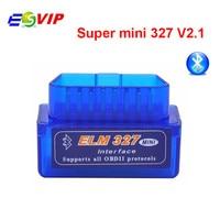 10ピース/トップ販売スーパーミニelm327ブルートゥースobd2 v2.1カー診断インターフェイスelm 327ワイヤレススキャンツール送料