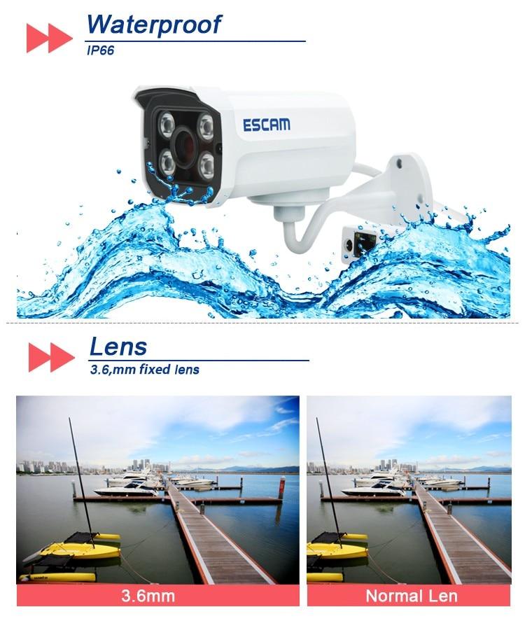 ESCAM Brick QD300 1Megapixel HD onvif Network Mini wired IR-Bullet Camera IR 15m waterprof ip66 p2p cloud Network Camera