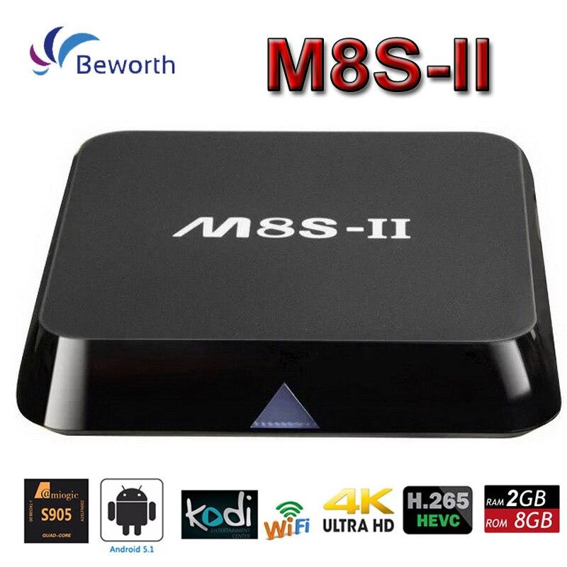 ФОТО M8S II 4K Andorid 5.1 TV Box Amlogic S905 Quad-Core 2G 8G 2.4/5G WIFI KODI 16.0 1000M LAN Media Player H.265 BT4.0 M8S+ M8S-II