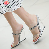 Coolcept High Heels Sandals Fashion Leopard Clear Heeled Wedges Shoes Women Summer Beach Transparent PVC Slippers Size 35 40