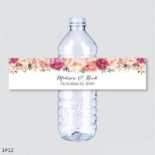 24 шт. свадебные этикетки на бутылки для воды с именем на заказ, вечерние этикетки на день рождения для девочек в деревенском стиле с розовыми цветами на заказ, декоративные этикетки на бутылки для воды
