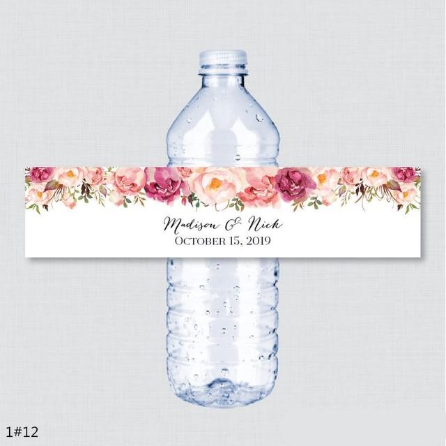 24 個のカスタム名の結婚式水ボトルラベル誕生日パーティー素朴なピンクの花カスタム水ボトルラベル装飾