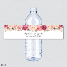 24PCS Custom name Wedding Water Bottle Labels Girl birthday Party Rustic Pink Flower Custom Water Bottle Labels decoration