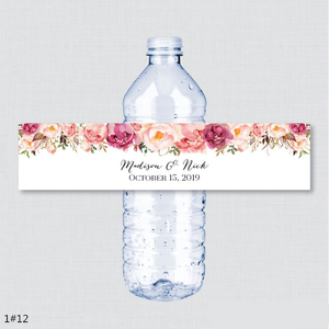 Image 1 - 24PCS Custom name Wedding Water Bottle Labels Girl birthday Party Rustic Pink Flower Custom Water Bottle Labels decoration