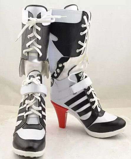 Hallowen Carnival Batman Suicide Squad Harley Quinn Boots Movie Cosplay Costumes Shoes High Heels Custom Made For Adult Women