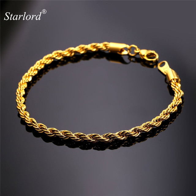 Starlord Gold Color Black Gun Stainless Steel Rope Bracelets 3mm 21cm Men Jewelry Hand