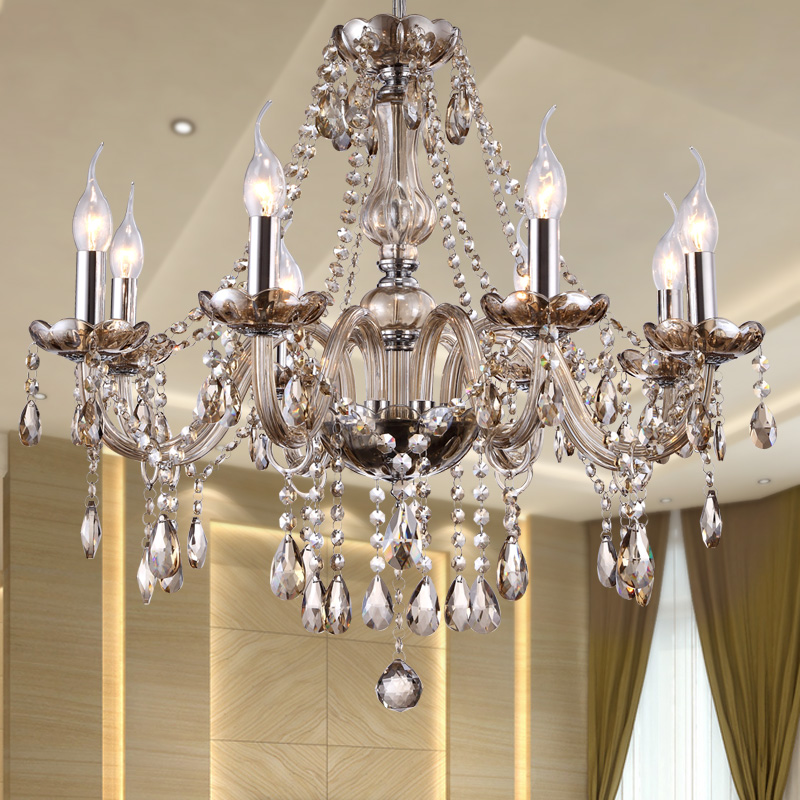 Modern Crystal <font><b>Chandelier</b></font> Lighting Luxury Cognac Glass <font><b>Chandeliers</b></font> Lamp Hanging <font><b>Light</b></font> Lustres De Cristal Lamp Hotel Lighting