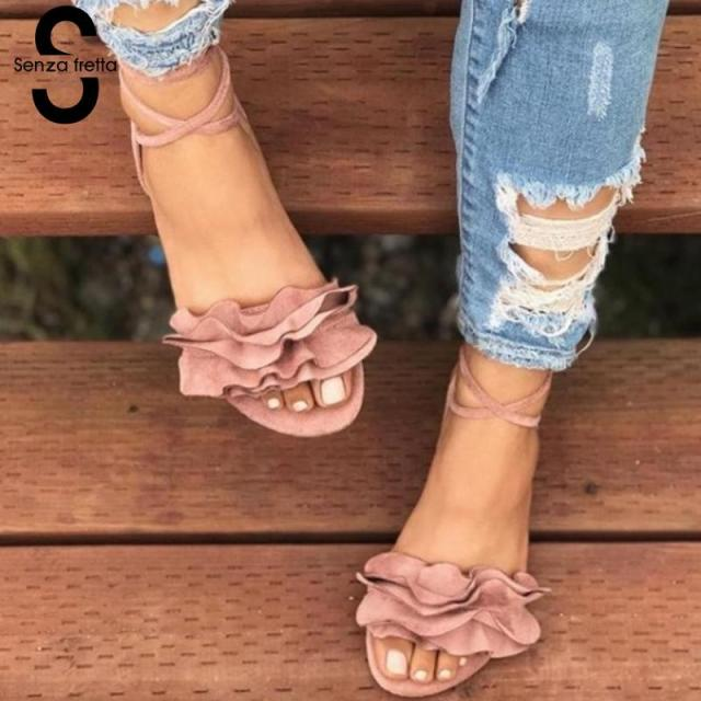 82c75234fbd Senza Fretta 2018 Women Gladiator Sandals Lace Up Flat Heels Shoes Fashion  Women Ankle Strap Summer Sandals zapatos mujer drop