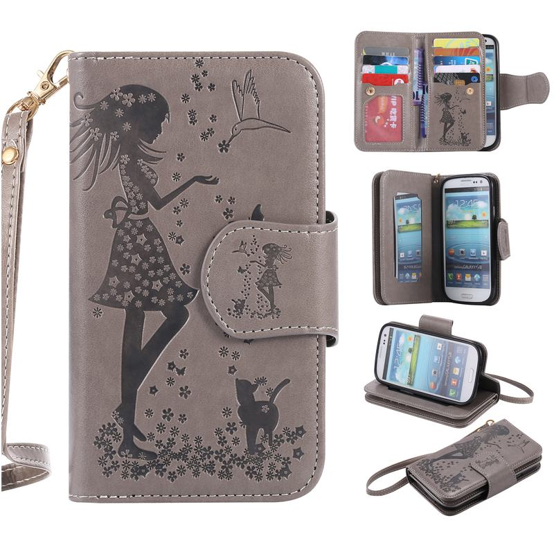 Nine Card Luxury Flip Case For Samsung Galaxy S3 Case Leather Wallet Silicone Phone Case Samsung Galaxy S3 Cover i9300 Neo Duos