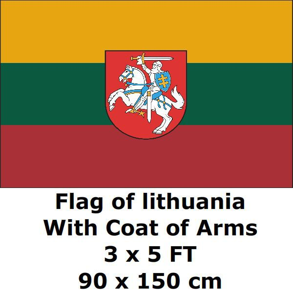 Lithuania With Coat of Arms <font><b>Flag</b></font> <font><b>90x150cm</b></font> 100D Polyester Lithuanian Country <font><b>Flags</b></font> and Banners For Home Decoration image