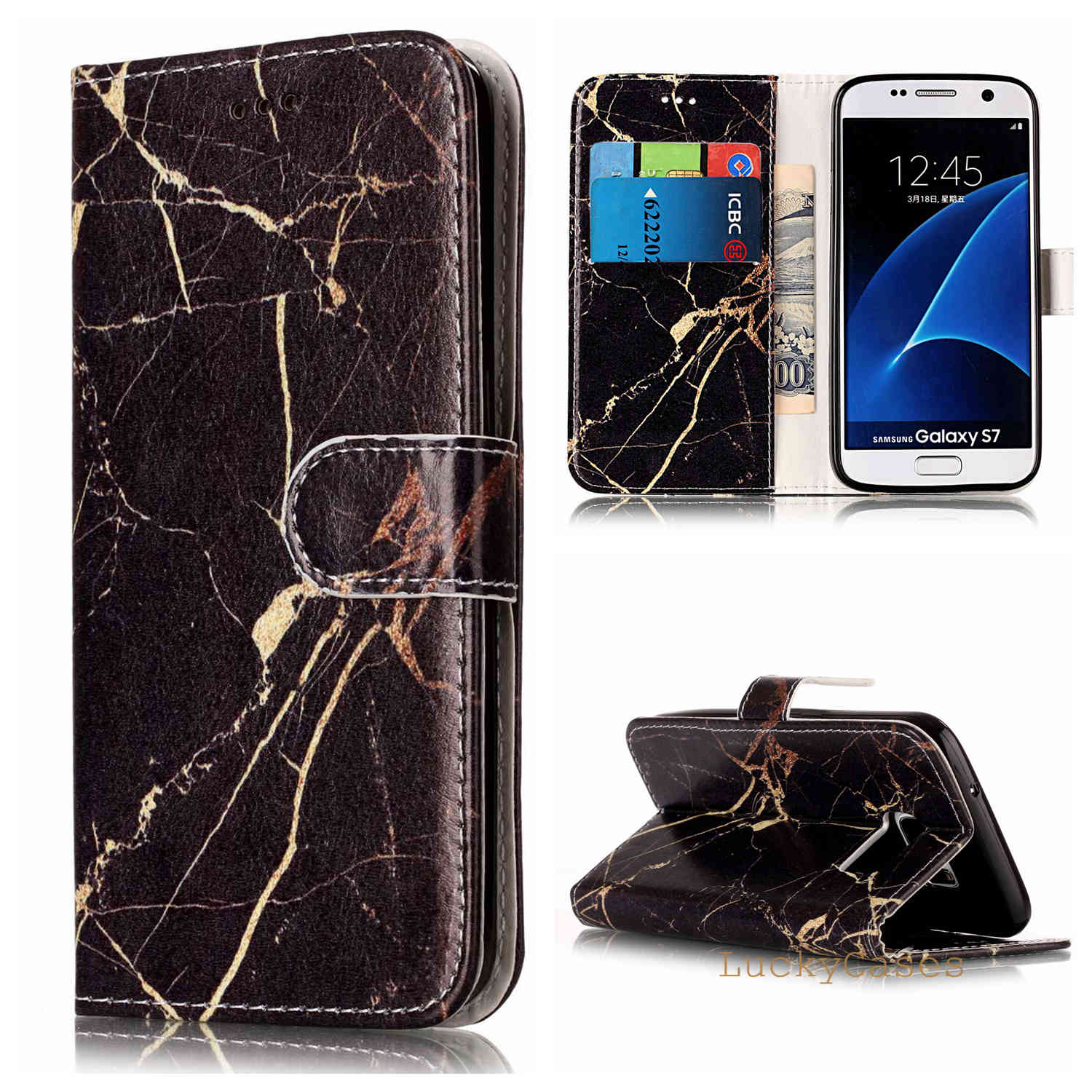 for Samsung S7 Phone Cover Marble Texture Leather Wallet Flip Phone Case for Samsung S7 phone case shell