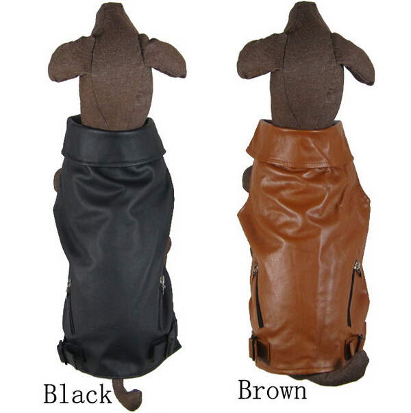 2015 new large dog fashion leather Sleeveless jackets suit big dogs sweaters clothes pet coats costume pets products 1pcs S M L