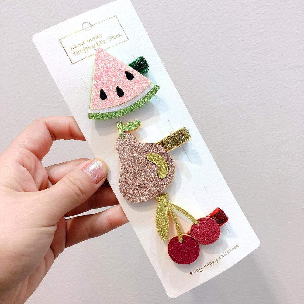 2Pcs Creative Watermelon Pineapple Hairpins Girls Kids Headwear Baby Hair Clips