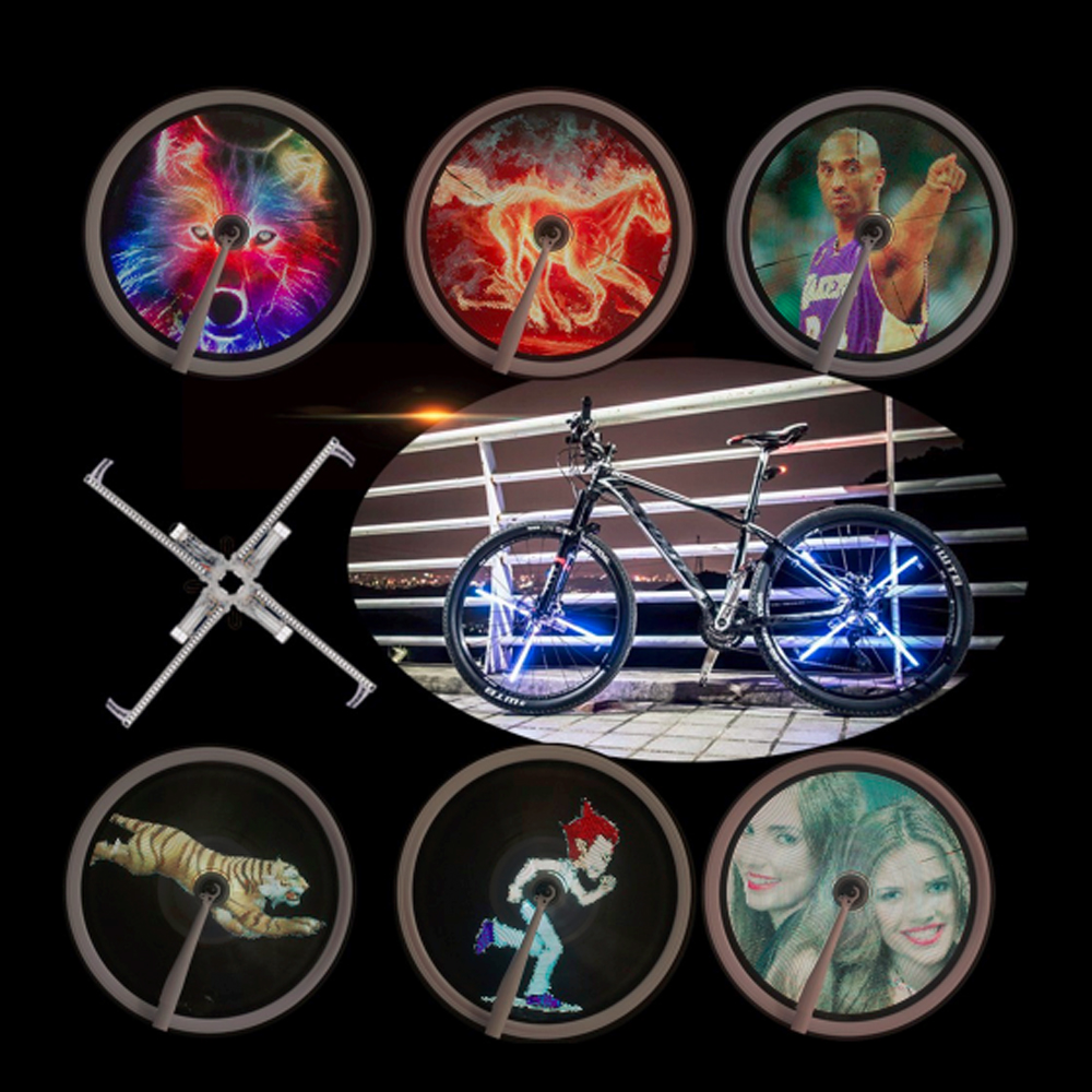 New Arrival Bicycle Wheel Light Double Display LED GIF Photo Spokes Light DIY Patterns RGB Download Image for Bikes Night Riding motion activated blue light 7 led message display wheel lights for bikes and cars