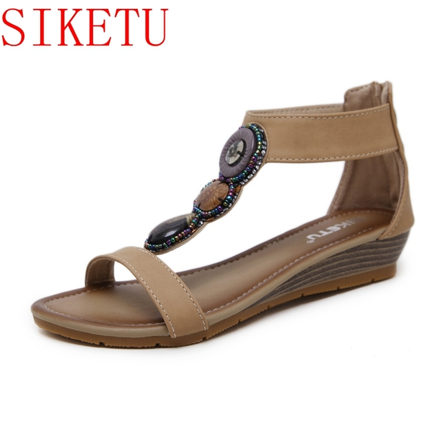d8686c049294 SIKETU Summer Shoes Bohemia Ethnic Flip Flops Soft Wedge Heel Sandals Woman  Casual Comfortable Plus Size Wedge Sandals F268-1