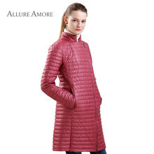New Spring Womens Warm Autumn Jacket Slim Long Solid Women Coat Thin Cotton Windproof jacket quilted women