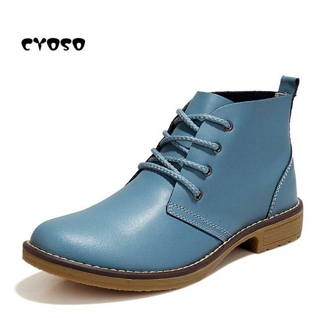 CYOSO Hakiki Deri çizmeler kadın ayakkabıları kadın Sonbahar Çizmeler Dantel kadar rahat ayakkabılar Kadın yarım çizmeler Siyah Patik Kadınlar