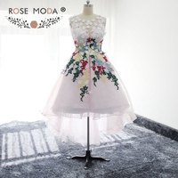 Rose Moda Stunning High Low Short Prom Dress with Colorful Laces Small Flowers Low V Back Ball Skirt Formal Dress