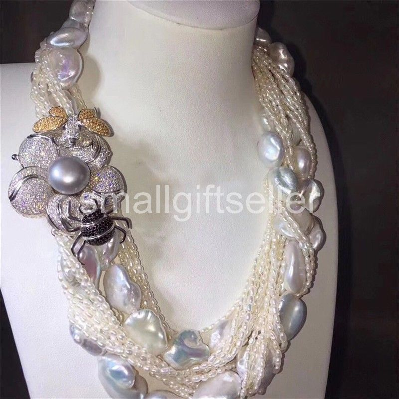 Природа пресноводного жемчуга reborn Кеши белый ожерелье 36 CZ цветок застежка