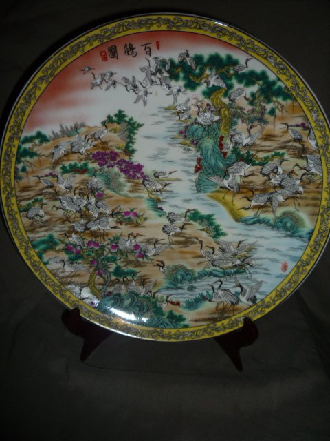 34cm(d) Rare Qing Dynasty  porcelain plate ,Crane,Free shipping34cm(d) Rare Qing Dynasty  porcelain plate ,Crane,Free shipping