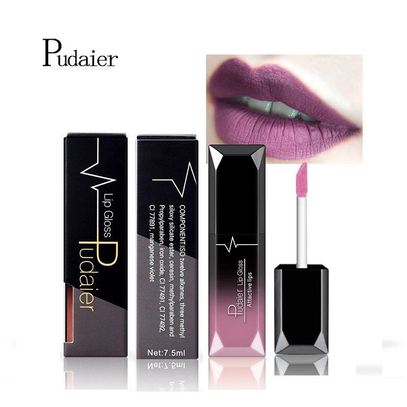 Pudaier 21 Colors Matte & Metalic Matte Liquid Lipstick Lips Make up Nude Lipstick Waterproof Lip Gloss Cosmetics Makeup 2