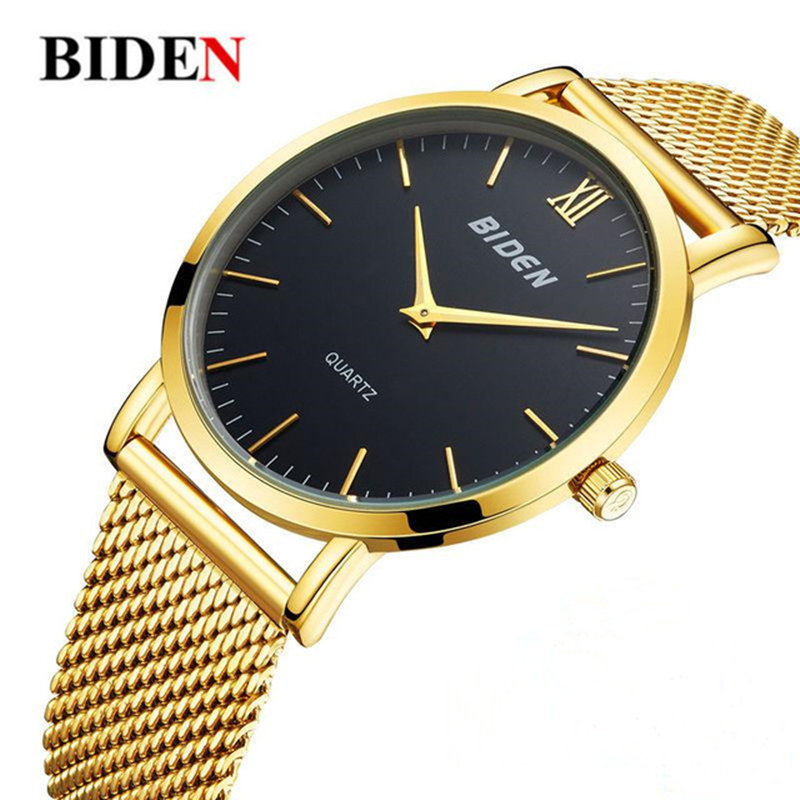 Brand Luxury Ultra-thin waterproof men's watches Stainless Steel Mesh Band quartz Gold Watch Clock Relogio Masculino ювелирное изделие 01c614076