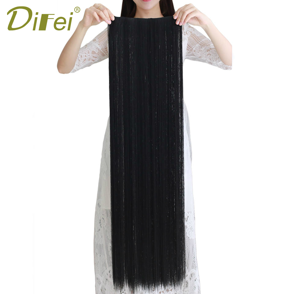 DIFEI Long Straight 5 Clips in Hair Extensions Fake  Synthetic High Tempreture Fiber Hair Extensions  halo hair extensions 1