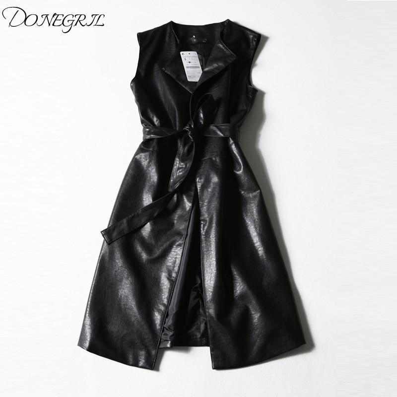 2019 New   leather   belt vest women's autumn coat long   leather   windbreaker PU skin thin waist