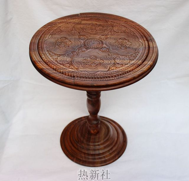 Stan Imported Wooden Table Antique Wood Hand Carved With Basket Coffee