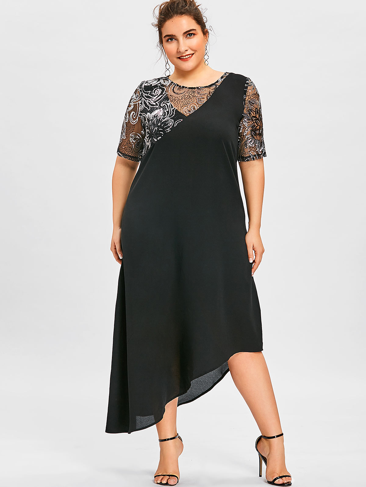 US $15.53 48% OFF|Wipalo Women Sparkly Party Dresses Plus Size 5XL Sequined  Asymmetric Maxi Dress Summer Elegant Black Half Sleeves Dress Vestidos-in  ...