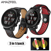 3in1/Pack Watch Band for Original Xiaomi Huami Smart Watch Amazfit Stratos 2 Amazfit 2 Pace Strap Leather Wrist Band 22mm Belt