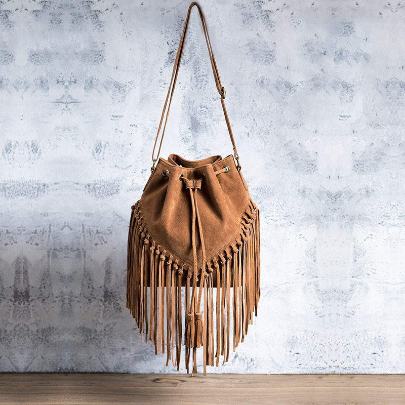 Westcreek Brand Faux Suede Leather Women Handmade Tassel Messenger Shoulder Bag Vintage Matte Leather Lady Drawstring Bucket Bag цена 2017