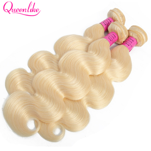 Image 3 - Queenlike Color 613 Brazilian Body Wave Remy Human Hair Bundles With Frontal Light Honey Blonde Bundles With Closure