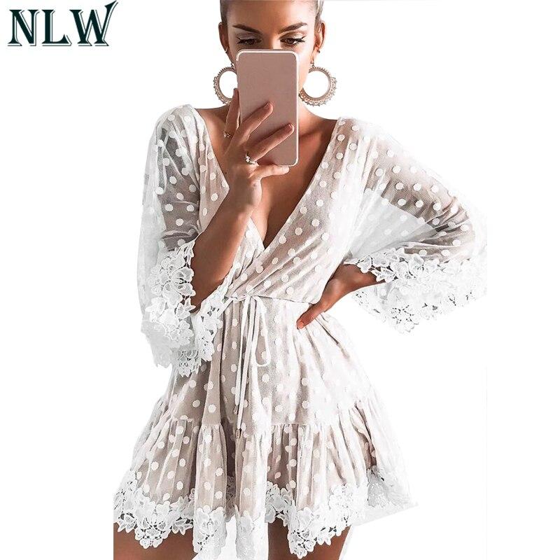 NLW Elegant White Lace Sexy Dress Female Summer Dress Women Transparent Embroidery Beach Party Dress Mesh Vestidos
