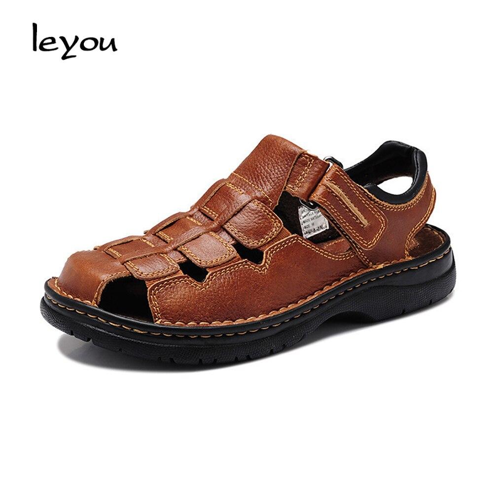 Sapatos Sandálias Presente Verão Genuíno Black brown Vintage Do Casuais Couro Sapatas Pai Novos Homens Gladiador Dos De Leyou qxwSU6C
