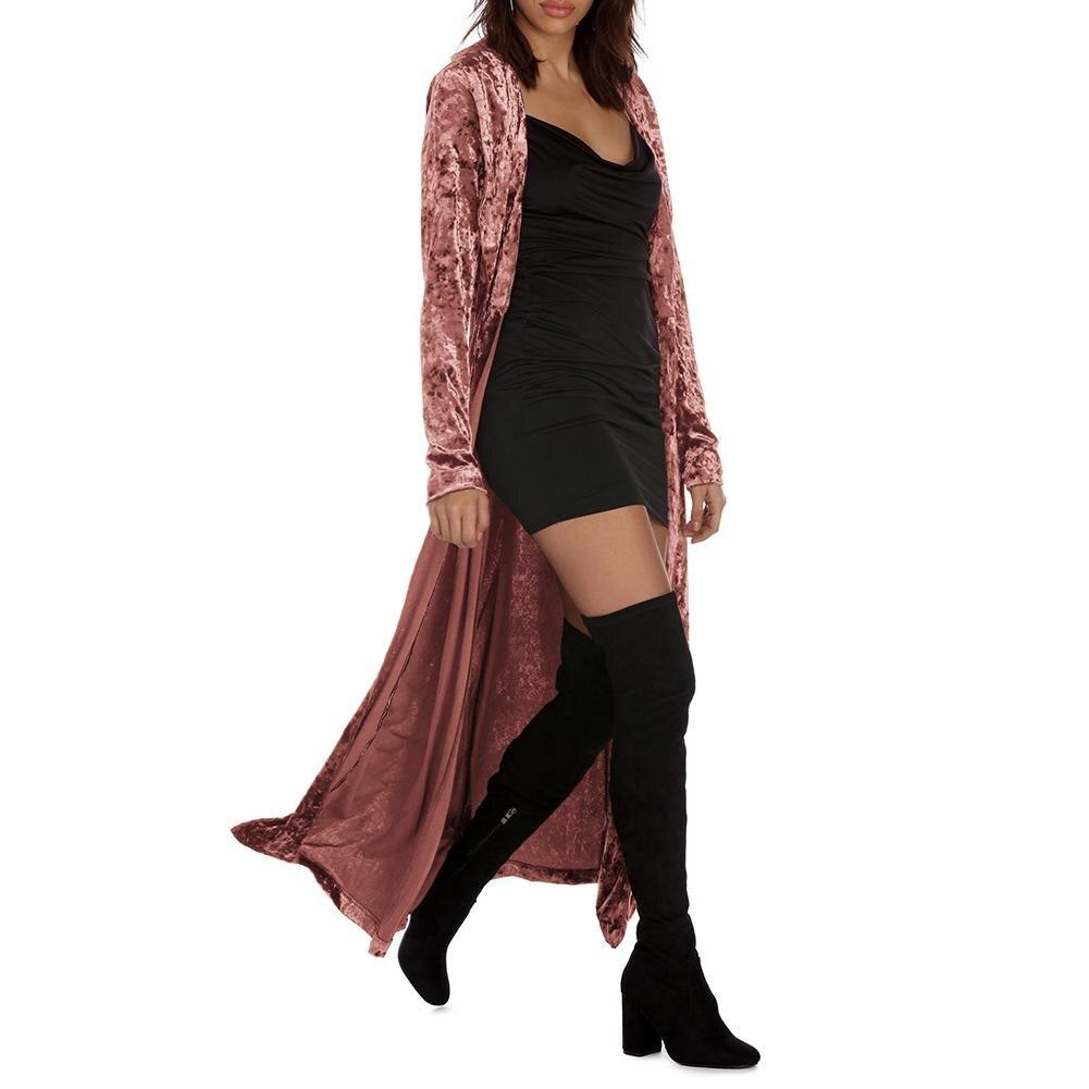 Women Long Sleeve Velvet Outwear Elegant Long Velvet Cardigan High Street Fashion Female Long Trench Coat Pull Femme 2018 Autumn