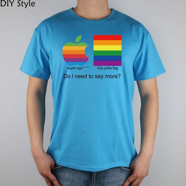APPLE GAY PRIDE top lycra cotton short-sleeved T-shirt 3340 Fashion Brand t shirt men new high quality 4