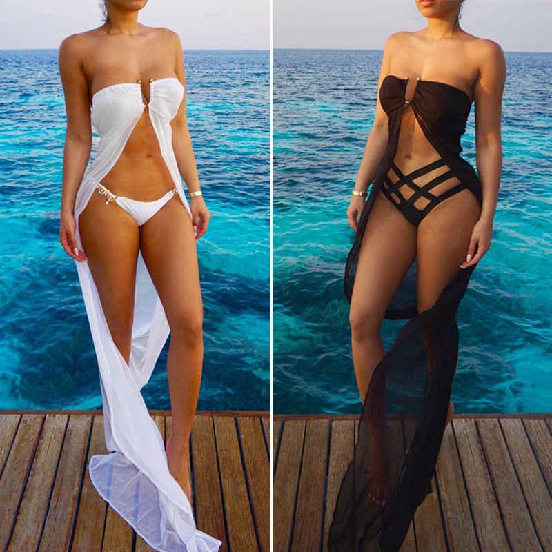 d87cd86ed2136 Chiffon Strapless Women Swimwear Bikini Cover Ups Summer Ladies Black White Beach  Dress Sarong Wrap Cover