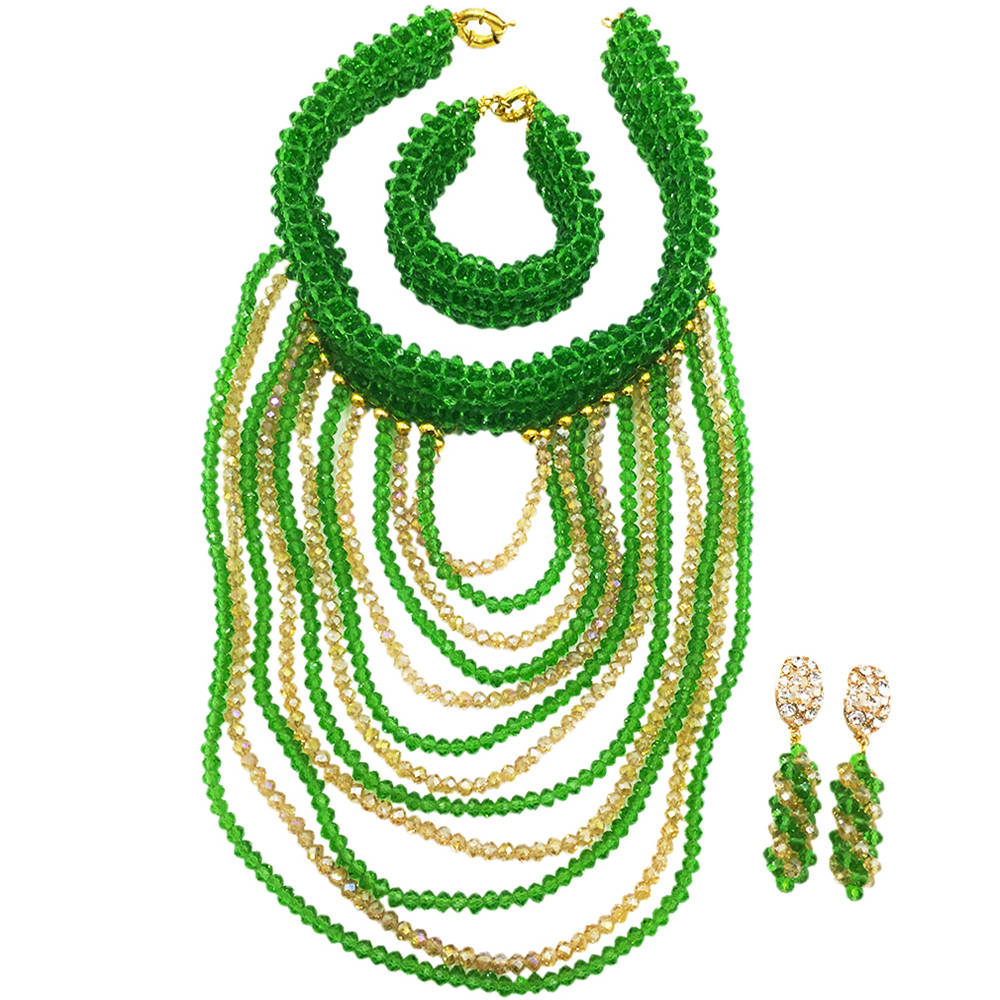 Crystal Green Gold African Wedding Beads Sets Nigerian Beaded Necklace Earrings Bridal Party Jewelry Sets for Women DDK004