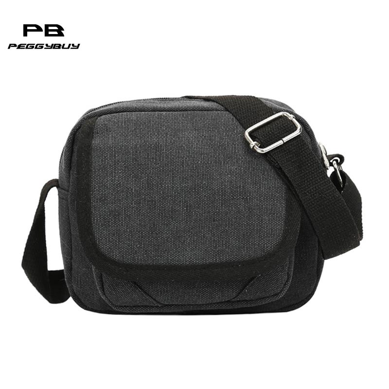 Home Wear Resistant Canvas Men Simple Fashion Single Shoulder Bags Brand Mens Canvas Bag Vintage Trendy Foldable Small Crossbody Bag