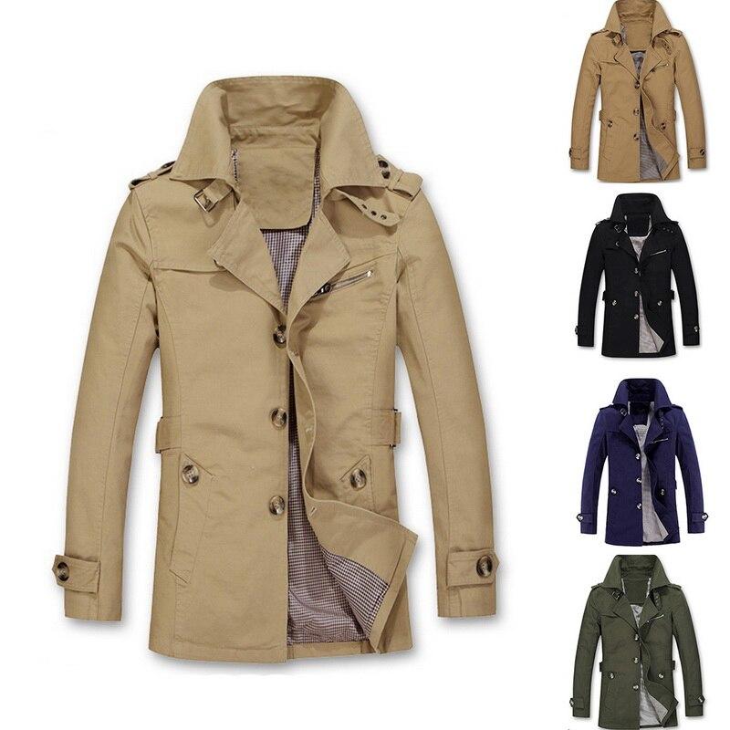 Shujin 2019 Cotton Casual Long Jackets Men   Trench   Windbreaker Coat Male Autumn Winter Solid Lapel Outwear Plus Size 5XL